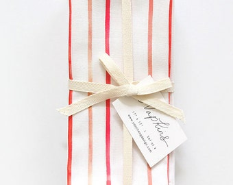 Raspberry Stripe - Set of 4 Napkins