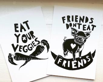 Vegan friends postcard print pack - black and white illustrations (2 cards)