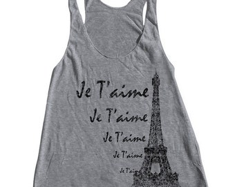 SUMMER SALE Eiffel Tower Tank Top American Apparel Triblend Racerback Tank Top Hand Screen Printed