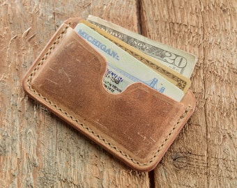 Ready to Ship - Front Pocket Card Wallet - Hand-Stitched Waxed Wheat Leather Card Case