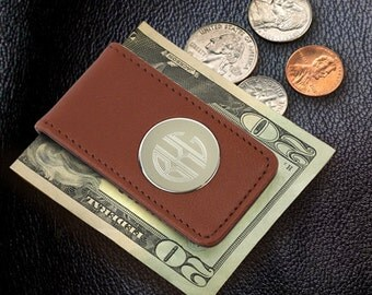 Leather Magnetic Money Clip-Brown (GC1075)