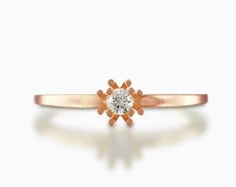 rose gold Diamond Engagement Ring, Simple diamond ring, Delicate diamond ring, yellow gold diamond ring, diamond flower ring