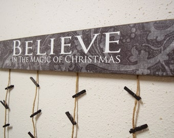 Believe in the Magic of Christmas Card Holder - Merry Christmas Card Hanger - Christmas Cards - Card Display - Greeting Card Holder