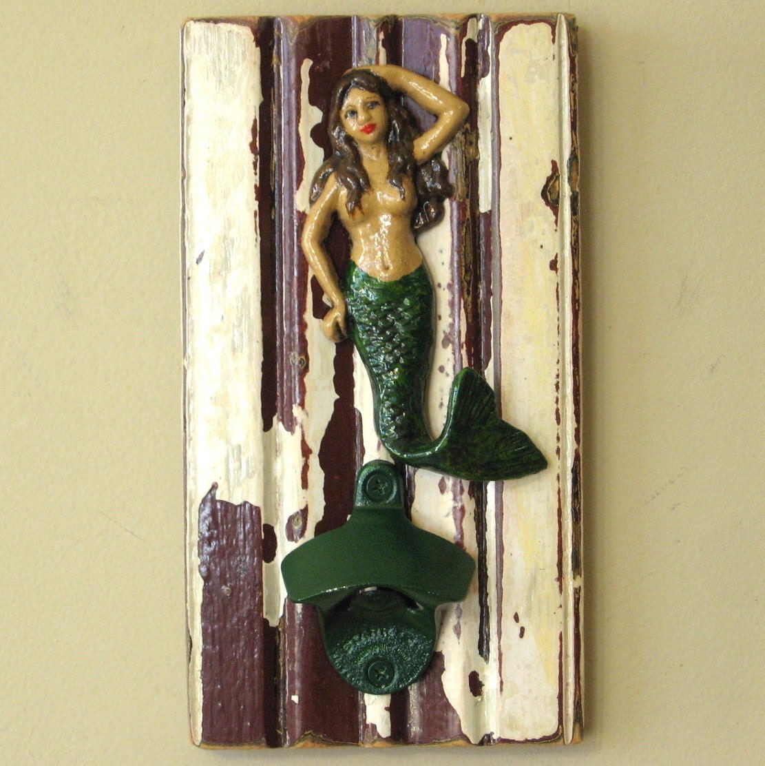 mermaid wall bottle opener wall hanging with by allisonwonderland1. Black Bedroom Furniture Sets. Home Design Ideas