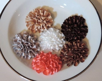 Fabric chrysanthemums in fall colors - 2 inch - set of 6