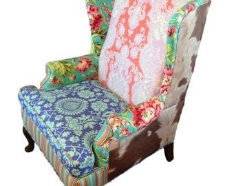 Upholstered Vintage Wingback Chair with Amy Butler Fabric & Cowhide