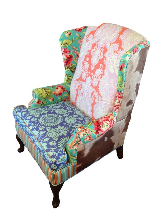 Upholstered Vintage Wingback Chair with Amy Butler Fabric