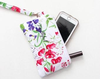 Floral Wristlet - Hot Pink Wristlet - Cell Phone Purse - Pink Cell Phone Pouch - Cell Phone Clutch Purse
