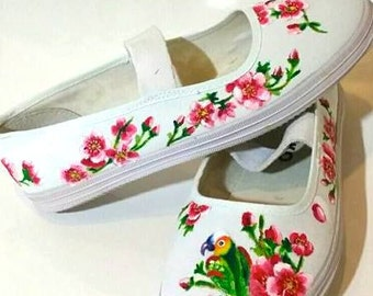 Custom Hand painted bird perched on cherry blossoms white canvas shoes