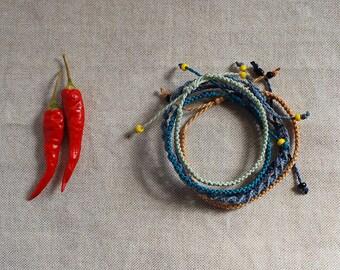 Blue Gray Friendship Bracelets / Set of 5 Friendship Bracelets / Geometric Knotted Jewelry /  Stackable Tiny Bracelets / Surf Bracelets