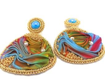 Multicolored silk shibori clip earrings
