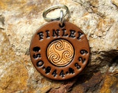 Custom Leather Dog Tag - Personalized Pet name and phone number Pet ID Tag Dog Tag Custom Pet Tag - Celtic Swirl - silent - Male or Female