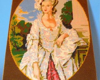 French D'apres Gainsborough Needlepoint on Board