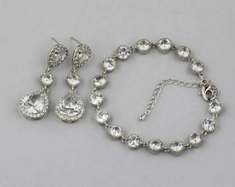 cz bracelet and earring set bridal jewelry wedding jewelry set bridal earring bridal bracelet