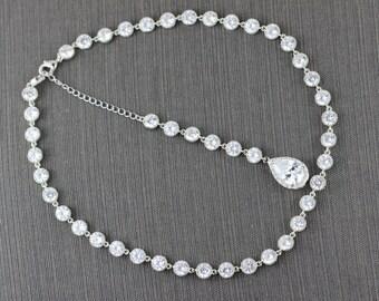 clear wedding necklace cz bridal necklace bridal jewelry wedding jewelry bridal backdrop necklace