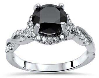 Round Black Diamond Halo Engagement Ring Infinity Band Wedding 14k White Gold