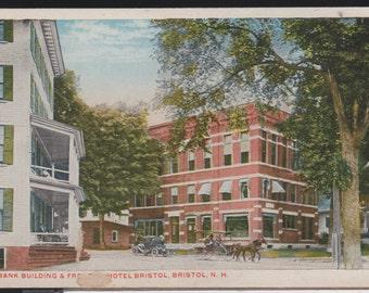 "1915 era Bristol, NH Hotel, Bank Horse&Wagon 8x10"" Enlargement of PostCard"