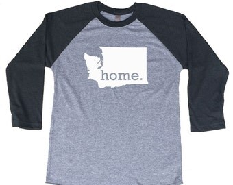 Homeland Tees Washington Home Tri-Blend Raglan Baseball Shirt