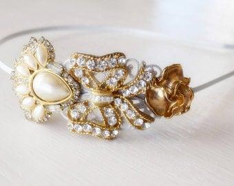 Bridal Headband - Gold Vintage Jewelry Collection - Eisenberg 1920s - Wedding Headpiece -Rhinestone Bridal Hair Jewelry-Bridal Tiara