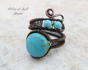 Boho ring / wire wrapped jewelry handmade / Wire Wrapped Ring / copper jewelry / Turquoise magnesite copper ring / bohemian jewelry