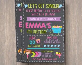 Pool Party / Summer / Water Gun / Balloon Fight / Beach / Splish Splash / Birthday Party / Invitation / Birthday Invitation