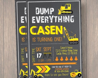 Construction Invitation, Construction BIRTHDAY Invitation, Dump Truck Invitation, Boy Birthday Invitation