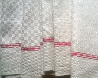 1920's French Basque Dish Cloth Unused Grey Damask Checkered Linen Red Line Rustic Country Side Folk Kitchen Towel