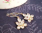 Crystal Dangle Earrings, Navette and Round Rhinestone Flower Leaf, with Sterling Silver Leverbacks