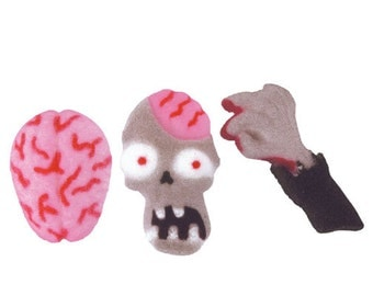 12 Zombie Attack Edible Molded Sugar - Cake / Cupcake Topper Decorations Brains Blood izombie Walking Dead Undead Walkers Halloween Biters
