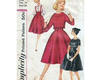 50s Simplicity sewing pattern 3073, dress sewing pattern, bust 34 inches
