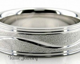18K Mens or Womens White Gold Wedding Band Ring  6MM Wide  Sizes 4-12  Free Engraving  New
