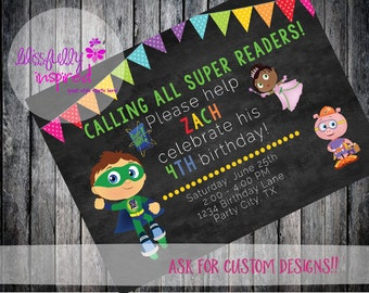 Super Why {inspired} Party Invite - Custom Printable Birthday Invitation