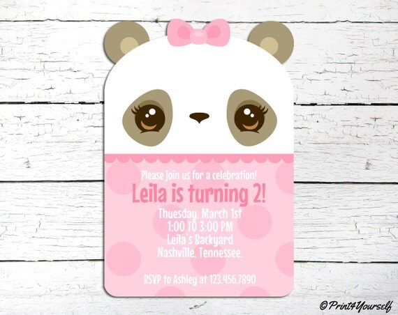 Panda invite personalized printable pink kawaii panda girl il570xn filmwisefo