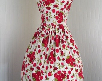 True Vintage 1950s Vintage Red Rose Sundress Cotton Floral White Dress