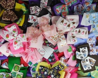 """GRAB BAG Grosgrain ribbon 4"""" Unfinished Double Layer Simple Pinwheel bows, Handmade, Each will be different"""
