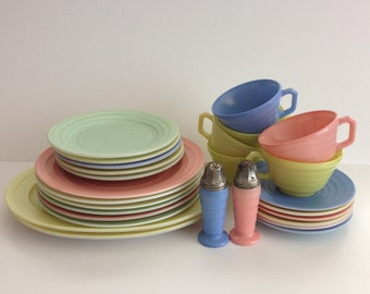 27 Pcs Hazel Atlas Pastel Moderntone Adult Size Dish Set - Oval Platters, Dinner Plates, Salad Plates, Bread Plates, Saucers, Cups, Shakers