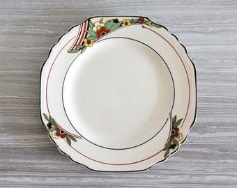Art Deco Norville Ware Cartwright & Edwards Set of 2 Cream Side Bread Plates with Floral Motif - Made in England