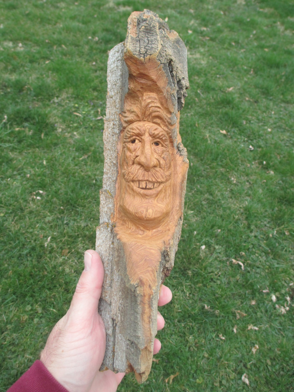 Wood spirit cottonwood bark one of a kind gift for him