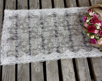 Ivory lace runner, romantic wedding table runner, lace table overlay, lace runner, occasion linen