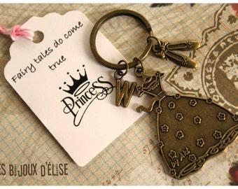 Personalized Princess Keychain Antique Bronze