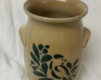 On Sale Pfaltzgraff Old World Brown and Blue Flower Handled Crock  Pottery