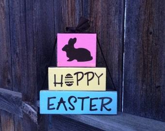 Happy Easter wood stacker blocks-Hoppy Easter