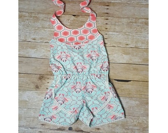 Size 6 Ready to Ship!!  Girls Summer Romper, Boutique style Romper with shorts.