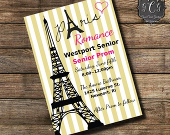 Paris Prom Invitation, Parisian Prom Invitations, Paris Graduation Invitation, Paris invite, Paris Birthday Invitation, Paris theme invite
