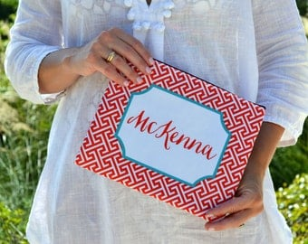 Personalized Large cosmetic bag - Monogram polka dot greek