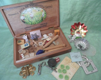 Vintage inspiration kit in wood cigar box / objects for mixed media, collage / destash junk drawer supply kit
