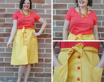 Yellow Dress - Two Tone Dress, Red and Yellow Dress, Vintage Dresses