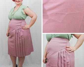 Plus Size Pink Pastel Pleated Pencil Skirt