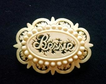 """Vintage carved bone name brooch, """"Bessie"""",  pin"""