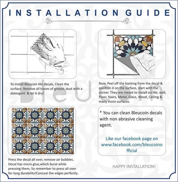 Tile Wall Floor Vinyl Decal  Indian Teal Hand Painted - A basic guide to vinyl decals   removal options